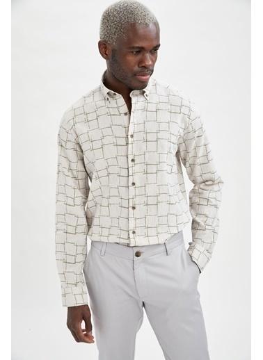 DeFacto Modern Fit Desenli Uzun Kollu Gömlek Bej
